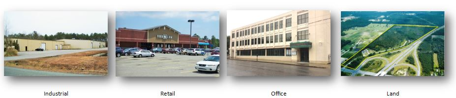 Property Types Eastern Carolinas Commercial Real Estate works with, Industrial, Retail, Office and Land Brokerage