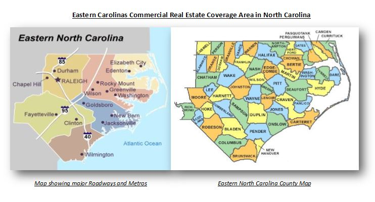 Eastern Carolinas Commercial Real Estate Service area in Norht Carolina